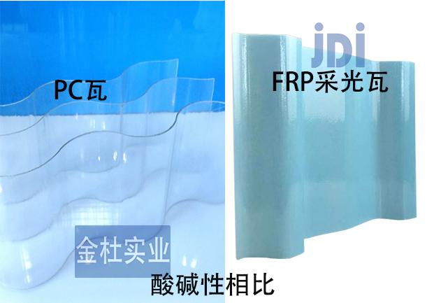FRP采光瓦与PC瓦酸碱性相比图